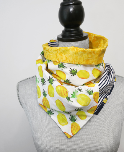 Watercolor Pineapples Patchwork Infinity Scarf