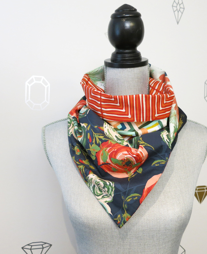 Red Blooms Patchwork Infinity Scarf