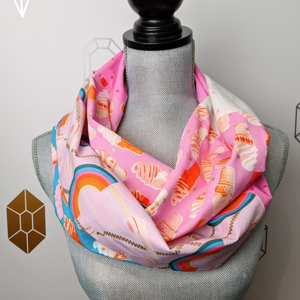 Social Rainbow Infinity Scarf in Pink