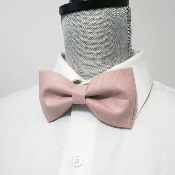Antique Pink and Silver Bow Tie