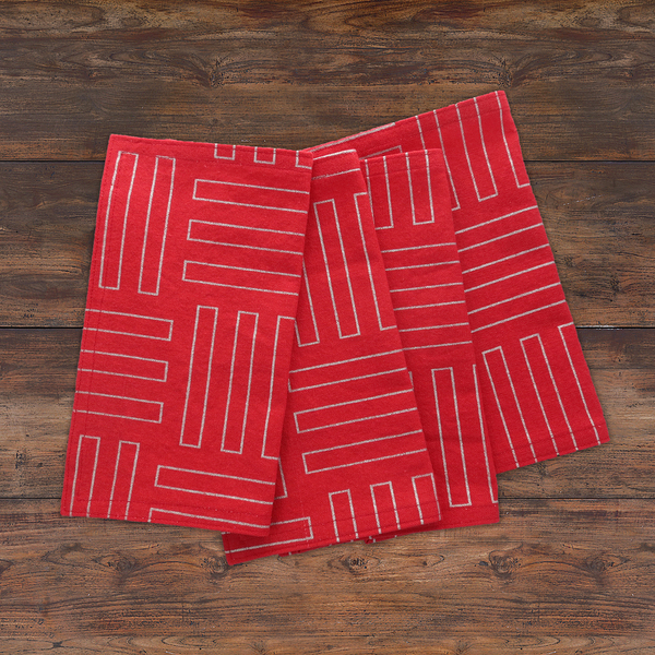 Red and Silver Cloth Napkins