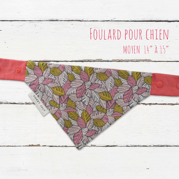 Pink Leaves Dog Bandana