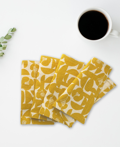 Yellow Floral Cloth Napkins