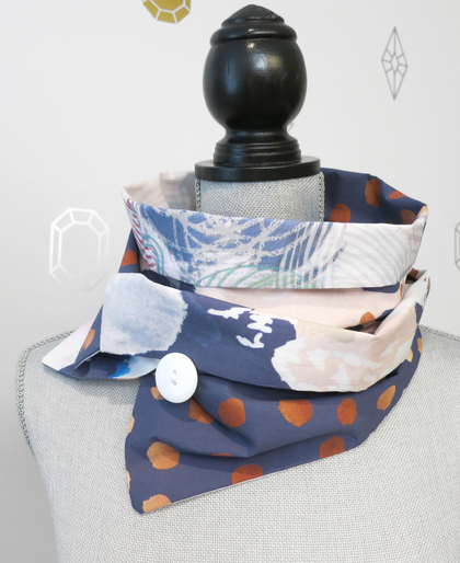 Blue Watercolor Patchwork Infinity Scarf