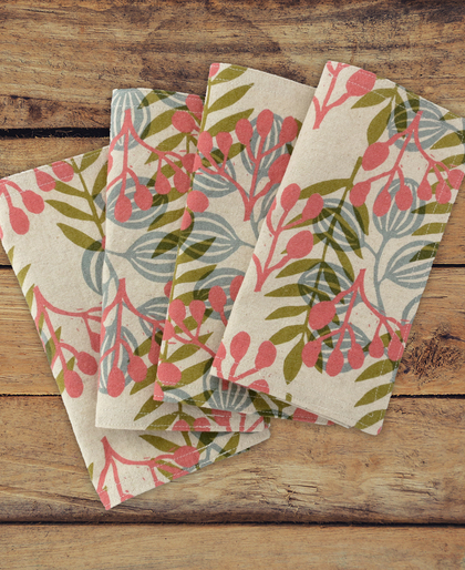 Meadow Cloth Napkins in Coral