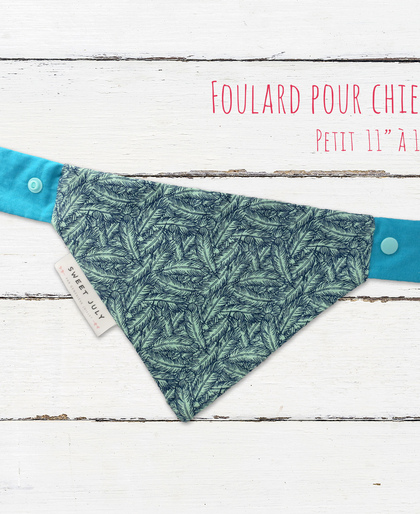 Blue Feathers Dog Bandana