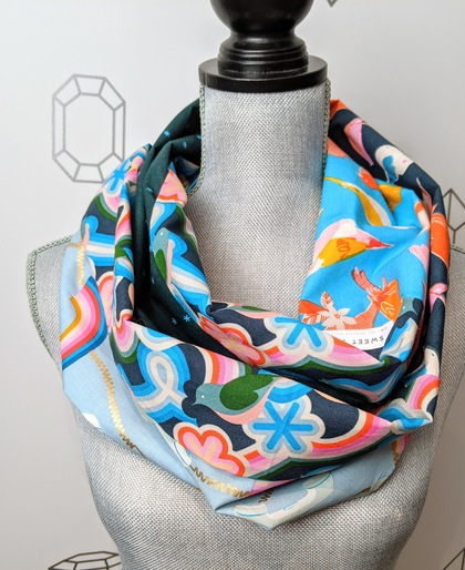 Social Rainbow Infinity Patchwork Scarf in Blue